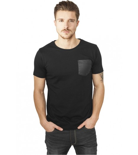 T-shirt Urban Classics Pocket Aspect Cuir Noir