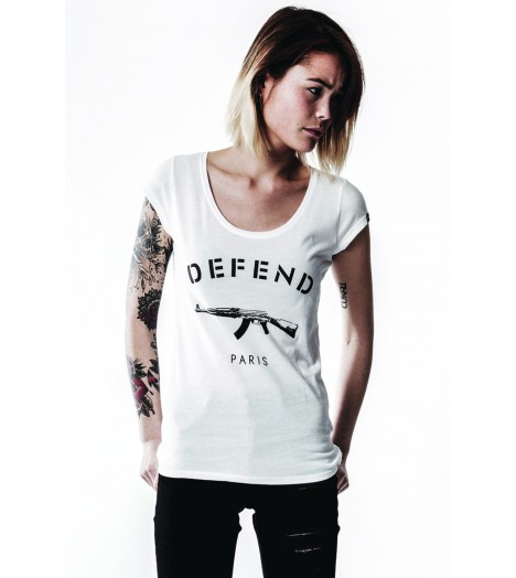 T-shirt Femme Defend Paris Paris basic Blanc