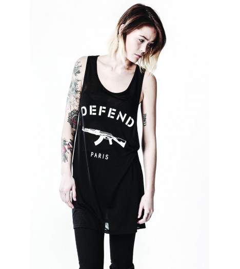 Debardeur Long Defend Paris Femme Paris Tency Noir