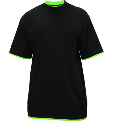 Tee-shirt extra long URBAN CLASSICS Kids Noir / Vert lime