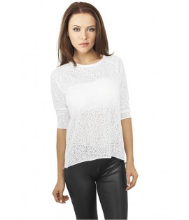 T-shirt Ladies 3/4 Sleeve Wide Burnout Classics Blanc