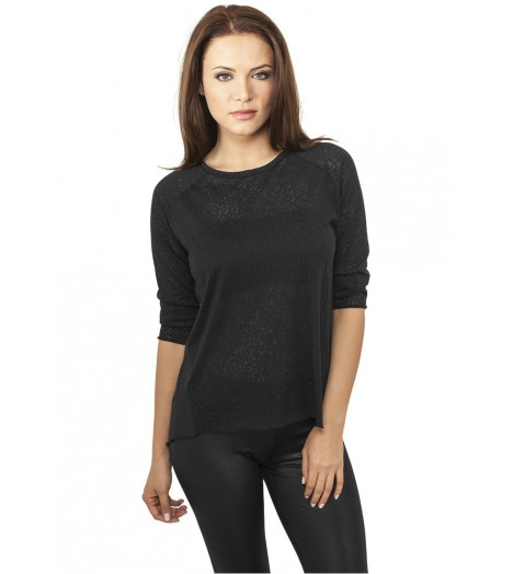 T-shirt Ladies 3/4 Sleeve Wide Burnout Classics Noir