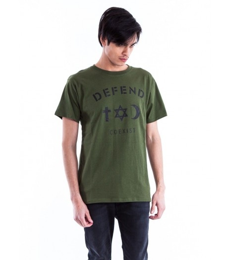 T-shirt DEFEND PARIS Kaki Coexist Army