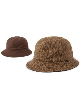 Bob Réversible Brixton Banks Brun Herringbone Bucket Hat