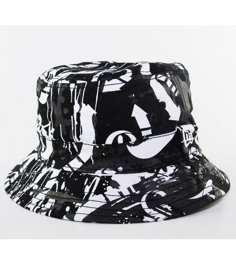 Bob New Era Street Art Bucket Hat Noir - Blanc