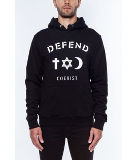 Sweat capuche Defend Coexist Noir Paris Hoody