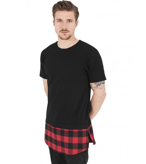 Tee-shirt Oversize Long Urban Classics Noir Rouge Carreaux