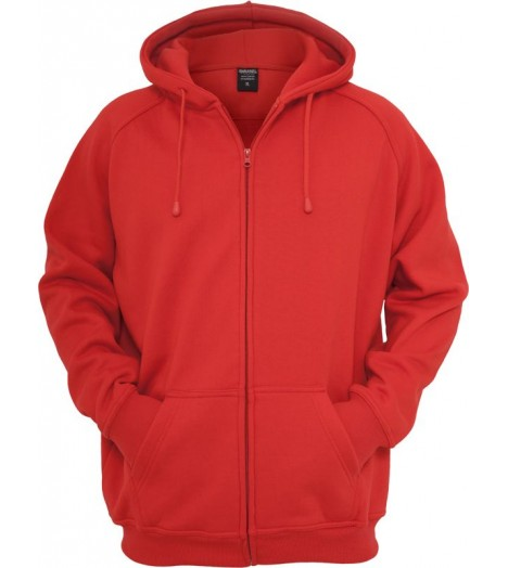 Sweat zippé URBAN CLASSICS large en molleton Rouge