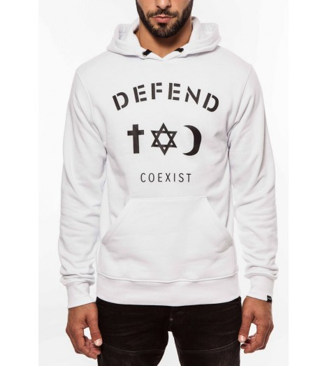 Sweat capuche Defend Coexist Blanc Paris Hoody