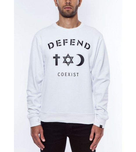 Sweat Defend Coexist Blanc Crewneck