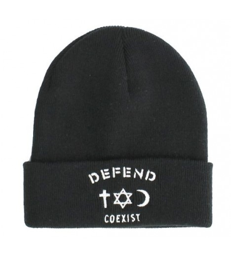 Bonnet Defend Coexist Noir Beanie Paris