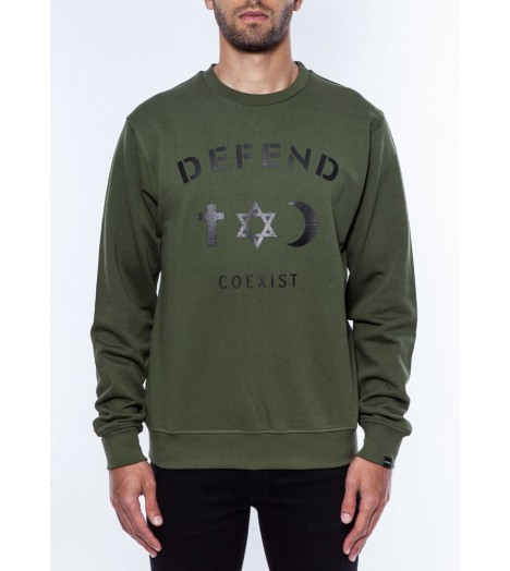 Sweat Defend Coexist Army Olive Crewneck