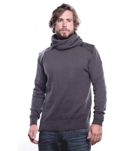 Pull Maille MZGZ Steeper Gris Col Haut Zip Latéral