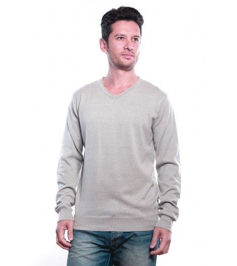 Pull Col V MZGZ Sixty Gris Clair
