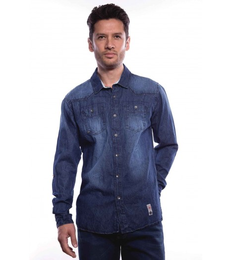 Chemise Denim MZGZ Douglas Light Wash Bleu