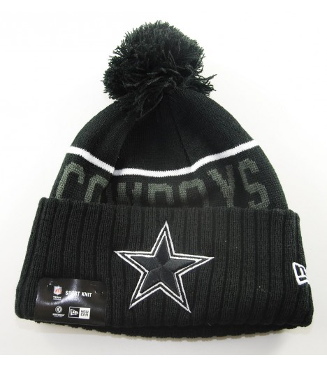 Bonnet Pompon New Era Dallas Cowboys Noir Doublé Polaire