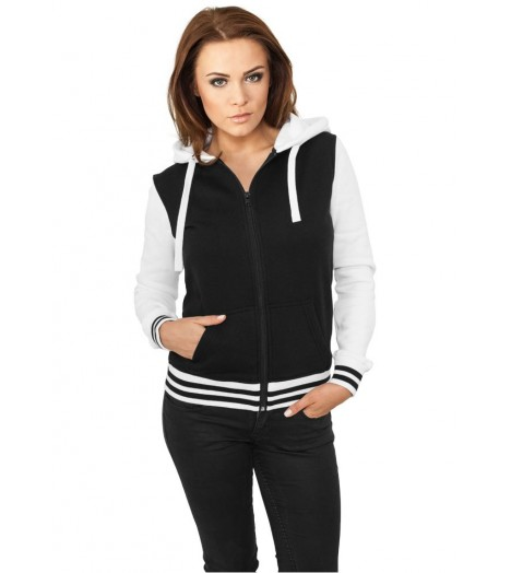 Sweat Zippé Urban Classics Noir Blanc Teddy