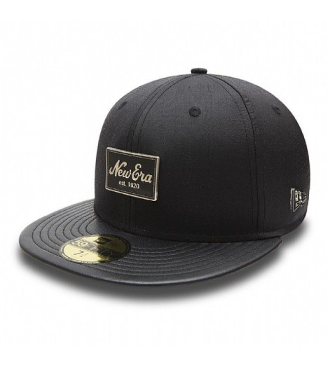Casquette New Era Silk Patch 59Fifty Soie Cuir Noir