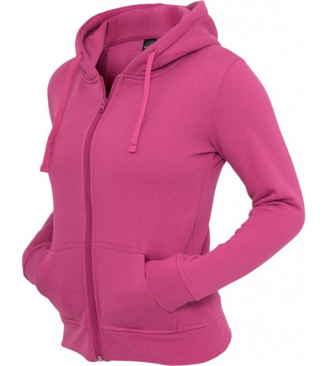 Sweat zippé URBAN CLASSICS Rose Fuchsia Basic molletonné à capuche