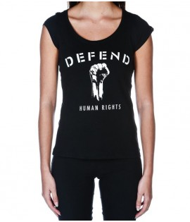 T-shirt Defend Human Rights Femme Noir