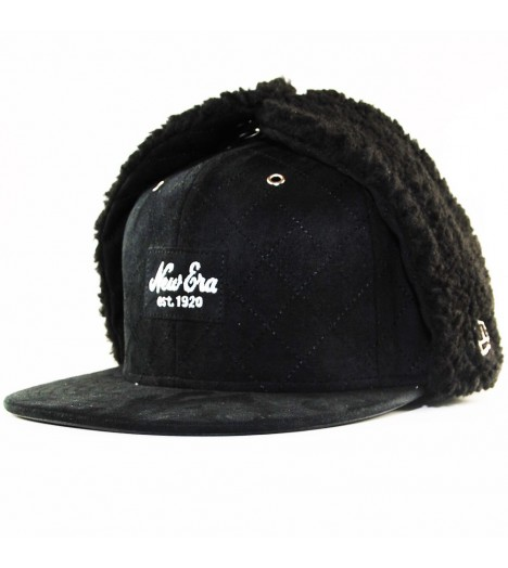 Casquette New Era 59Fifty Patch Quilted Suede Noir