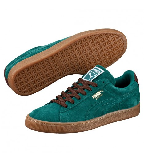 Chaussures Puma Suede Storm Vert Turquoise Semelle Brune