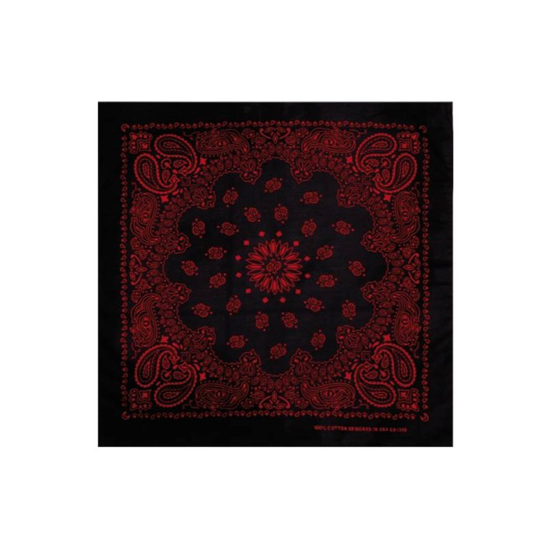 bandana noir rouge paisley masterdis 50x50 cm foulard prestige center. Black Bedroom Furniture Sets. Home Design Ideas