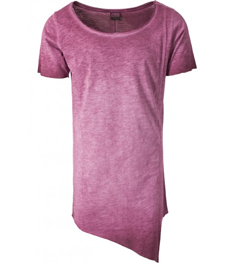 Tee-shirt Long Asymétrique Urban Classics Bordeaux Spray Dye