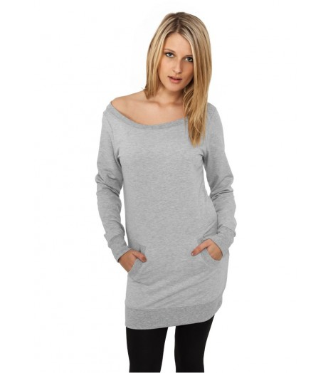 Sweat Crewneck Long Urban Classics Femme Gris Poches