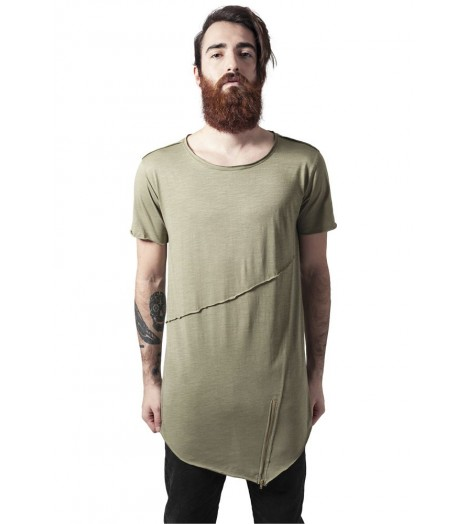 T-shirt Long Urban Classics Olive Zip