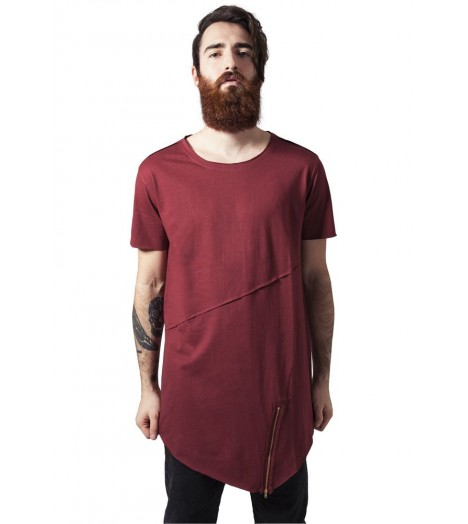 T-shirt Long Urban Classics Bordeaux Zip
