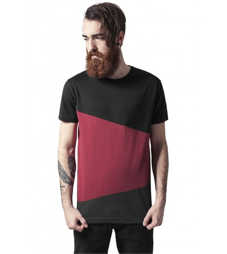 Tee-shirt Long Urban Classics Zig Zag Noir Bordeaux