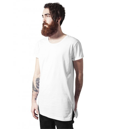 Tee-shirt Long Urban Classics Blanc Side Zip