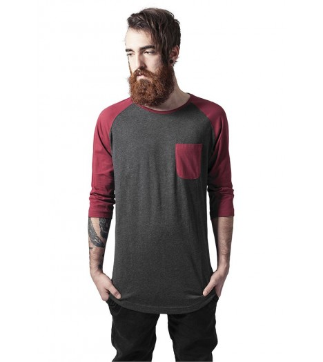 Pocket T-shirt Long Raglan Urban Classics Bordeaux Gris