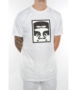 T-Shirt Obey Half Face Icon Blanc