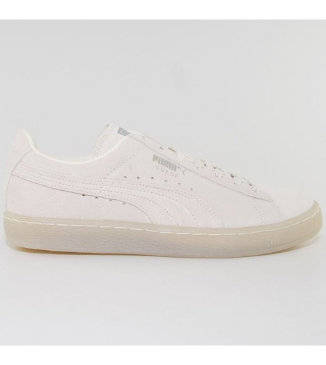 chaussures puma suede white mono iced blanc