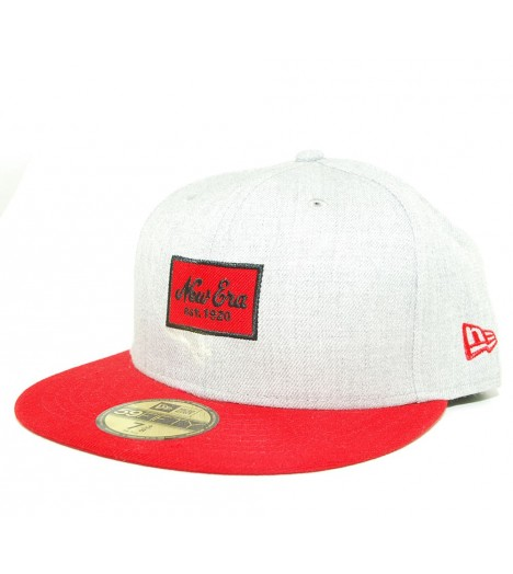 Casquette New Era 59Fifty Heather Patched Gris Rouge