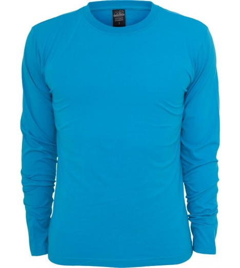 Tee-shirt URBAN CLASSICS col rond basic à manches longues Turquoise