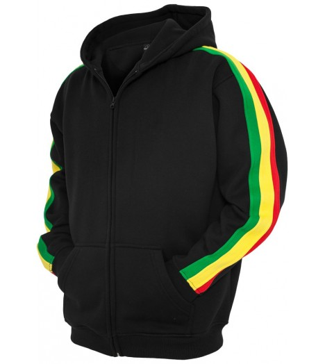 Sweat zippé URBAN CLASSICS Kids Noir / Rasta molletonné