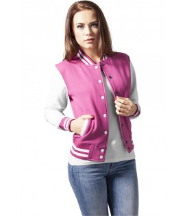Veste Teddy URBAN CLASSICS Ladies Rose fuchsia / Blanc College