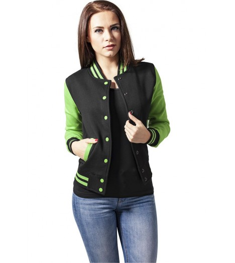 Veste Teddy URBAN CLASSICS Ladies Noir / Vert lime College molleton