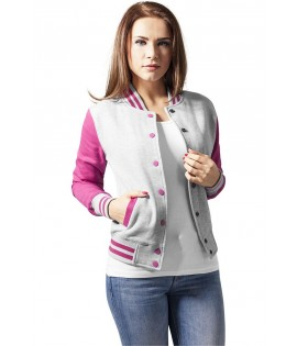 Veste Teddy URBAN CLASSICS Ladies Gris / Rose Fuchsia College
