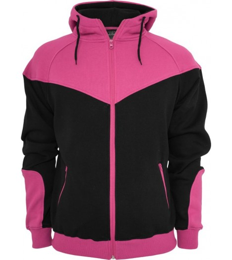 "Sweat zippé URBAN CLASSICS ""Arrow"" Noir / Rose fuchsia"