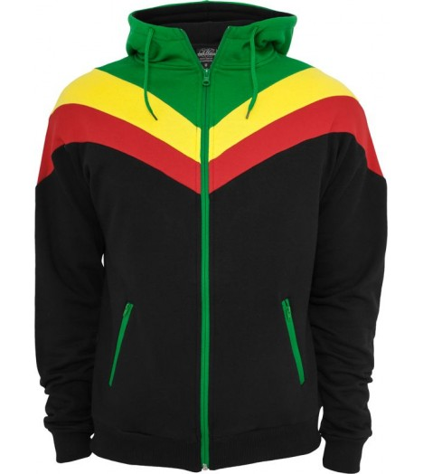 "Sweat zippé URBAN CLASSICS ""Arrow"" Noir / Rasta"