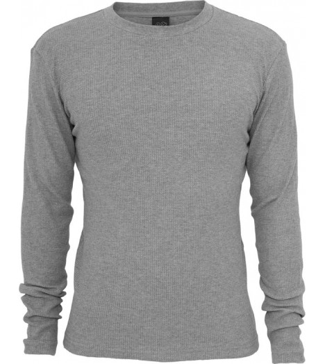 Tee-shirt URBAN CLASSICS col rond slim fit Thermal à manches longues Gris
