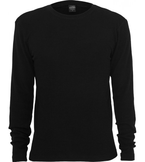 Tee-shirt URBAN CLASSICS Noir en Coton Gaufré Thermal (Slim fit)