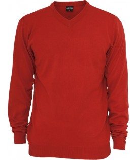 Pull col V URBAN CLASSICS toucher Cashmere Rouge