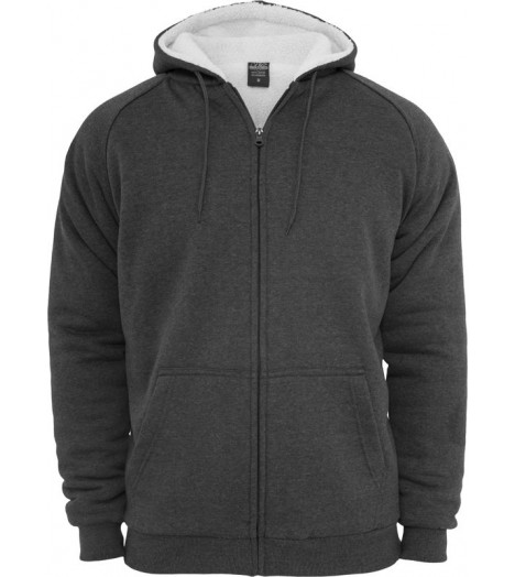 Sweat zippé URBAN CLASSICS fourrure imitation mouton Charbon