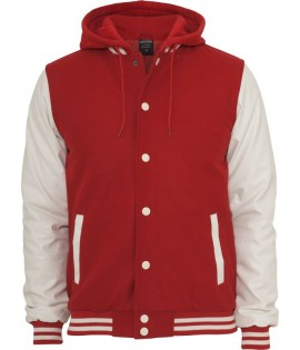 "Blouson Teddy URBAN CLASSICS à capuche ""Old School College"" Rouge"