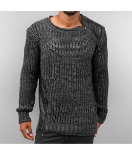 Pull Bangastic Knit Pullover Zip Epaule Gris Anthracite
